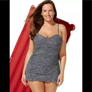 Swimsuits for All Black White Ruffle Swimdress NEW